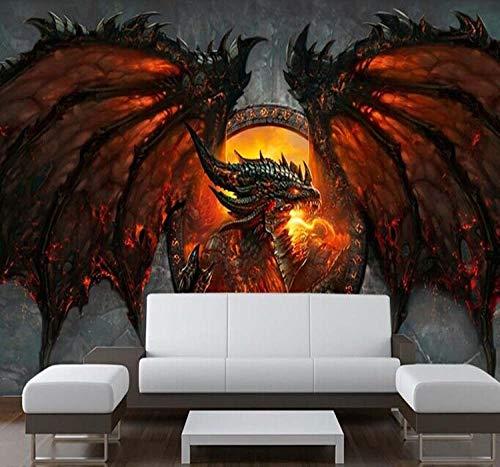 WWMJBH behang zelfklevend 3D vuur draken fotobehang unieke interieur slaapkamer gang muurkunst woonkamer tv-achtergrond behang decoratie 520x290 cm (BxH) 11 Streifen - selbstklebend
