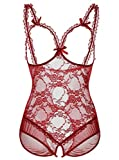 ALLureLove Womens Plus Size Lingerie Sexy Open Cup Crotchless One-Piece Teddy Wine Red,XX-Large (fits like US X-Large)