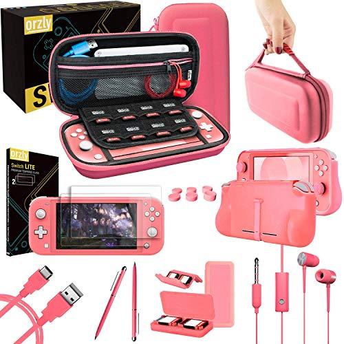 Accesorios para Nintendo Switch Lite – Pack Incluye: Protectores de Pantalla & Funda para Switch Lite Consola, Funda Comfort Grip, Cable USB, Auriculares y más. (Coral)
