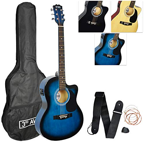 3rd Avenue 4/4 Full Size Cutaway Electro Acoustic Guitar Pack for Beginners...