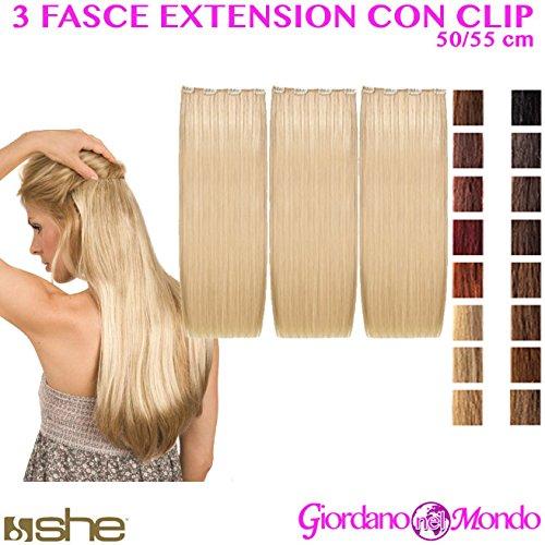 Extensions capillaires avec clip longues 50/55 cm Kit de 3 couches 100% naturelles She (différentes couleurs).