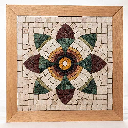 Flor de Granada - Mosaico DIY Kit - 23x23 cm Teselas de mosaico de mármol italiano - Idea regalo original - Mandala de mosaico - Hazlo tú mismo - Mosaicos manualidades