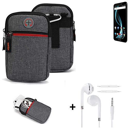 K-S-Trade® Gürtel-Tasche + Kopfhörer Für Allview X4 Soul Infinity L Handy-Tasche Schutz-hülle Grau Zusatzfächer 1x