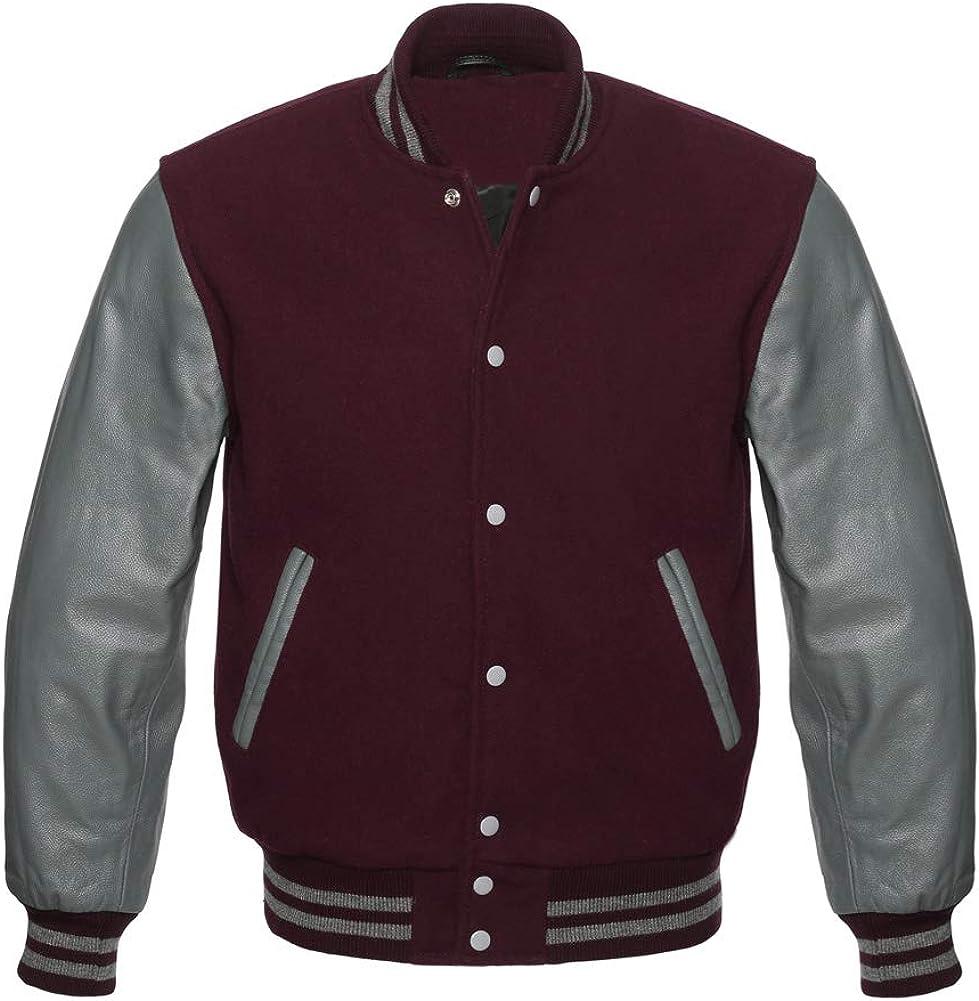 5 Star American Varsity Jacket Letterman Jacket School Jacket College Jacket Baseball Jacket Grey Leather 7 Wool Colors