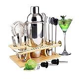 MOOING Cocktail Shaker Set,14 Pezzi Kit Set Cocktail, Set Shaker in Acciaio Inossidabile,750ml Shaker con Accessori, Compreso Supporto Bamboo