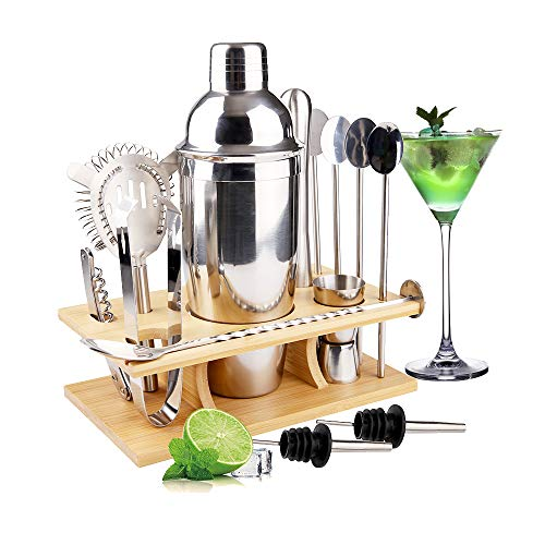 MOOING Cocktail Shaker Set,14 Pezzi Kit Set Cocktail, Set Shaker in Acciaio Inossidabile,750ml Shaker con Accessori, Compreso Supporto Bamboo