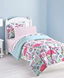 dream FACTORY Kids 5-Piece Complete Set Easy-Wash Super Soft Microfiber Comforter Bedding, Twin, Pink Flamingo