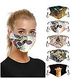 Lomelomme 10 Stück Bandana Waschbar Mundschutz Herren Damen Sommer Atmungsaktiv Sport Halstuch Bunt Lustig 3D Drucken Earloop-Schal, wiederverwendbar (Ub-5pc, One size)