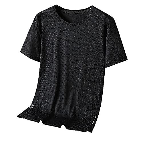 N\P Draping Ice Silk - Camiseta de manga corta para hombre, transpirable, con cuello redondo, malla, Negro, 3XL