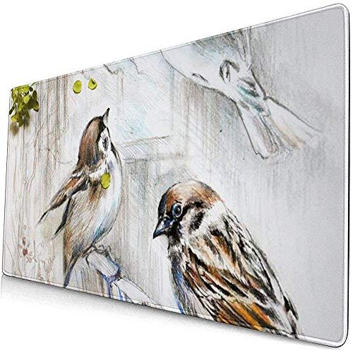 Mussen vogels met frame van bladeren bessen en bloemen muismat muismat anti-slip rubber duurzaam
