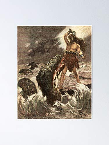 MCTEL Thor Vs The Serpent of Midguard Vin-Tage Illustration Poster 11.7x16.5 Inch Frame Board for Office Decor, Best Gift Dad Mom Grandmother and Your Friends