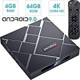 pendoo Android 9.0 TV Box 4GB RAM 64GB ROM, X10 MAX Android TV Box RK3318 Quad-Core 64Bits Dual WiFi 2.4G/5G Bluetooth 3D 4K Ultra HD H.265 USB 3.0 Android Box