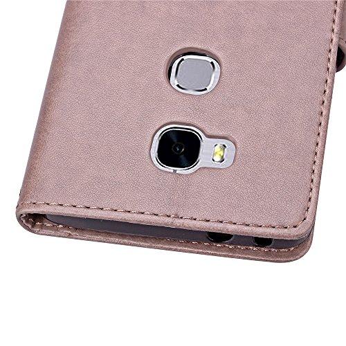 EMAXELERS Huawei Honor 5X Hülle Lucky Clover Schutzhülle Ledertasche Lederhülle Handyhülle Wallet Case Flip Etui Tasche Handytasche mit Standfunktion Karteneinschub,Gray Clover - 6