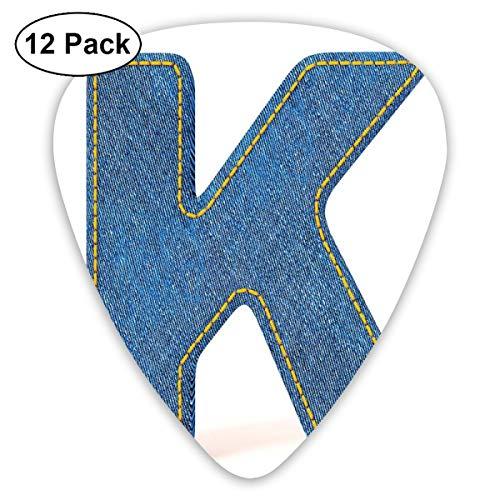 Gitaar Picks12pcs Plectrum (0.46mm-0.96mm), Alfabet Font Denim Stijl Blauw Jean Texture Gekapitaliseerd Karakter K Illustratie, Voor Uw Gitaar of Ukulele