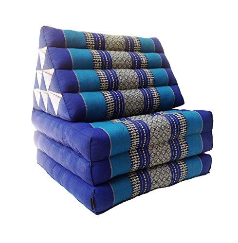 Collumino, materasso da meditazione tradizionale thailandese Kapok a 3 strati, con cuscino reclinabile triangolare in stile orientale, per yoga, massaggi o relax Azzurro, blu scuro.