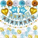 Birthday Decorations Set Party Supplies,Happy Birthday Banner,Latex Balloons,Hanging Swirls,Pompoms Flowers,Dot Garland,Star Heart Foil Balloons, Boy Blue Parties Kit Decoration Pack