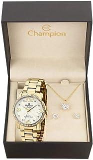 Relógio Champion Ch24768w + Conjunto de Brincos e Colar