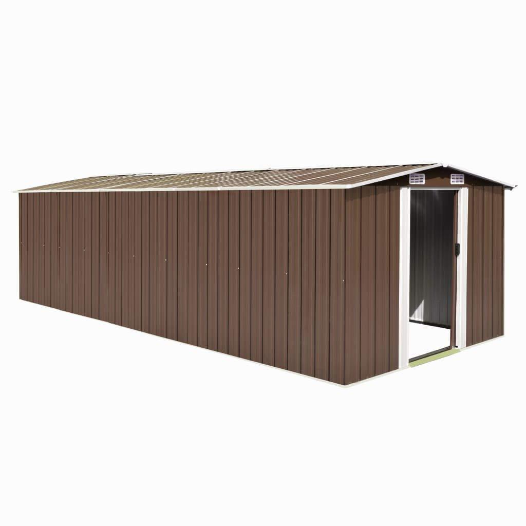 vidaXL Caseta de Jardín de Metal Marrón 257x597x178cm Jardín Patio Cobertizo: Amazon.es: Bricolaje y herramientas