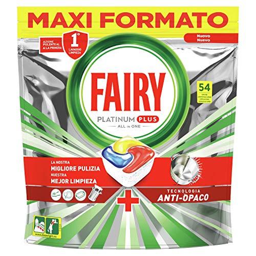 Fairy Platinum Plus Tutto in Uno Detersivo Capsule Lavastoviglie, 54 Pastiglie, Limone, Brillantezza Originale, Tecnologia Anti-Opaco