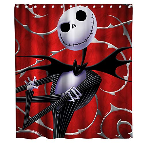 Nightmare Before Christmas Shower Curtain Halloween Decor Theme Fabric Bathroom Decor Sets with Hooks Waterproof Washable 72 x 72 inches White red