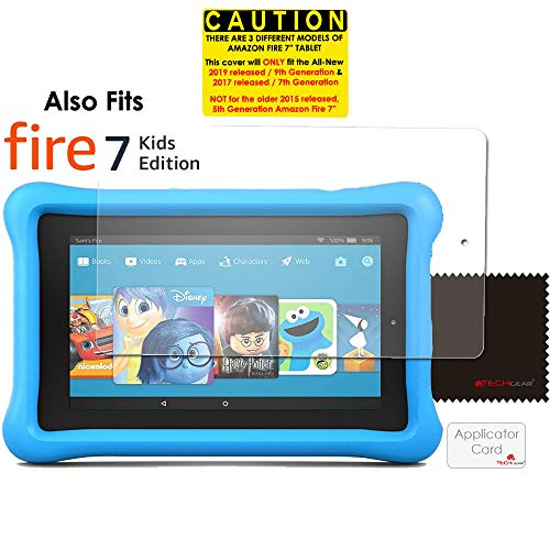 """TECHGEAR [Pack of 3] Screen Protectors for New Amazon Fire 7"""" (2019 / 9th Generation & 2017 / 7th Gen.) Clear Lcd Screen Protector Covers for Fire 7 & Fire Kids Edition 7"""" 2019/2017"""