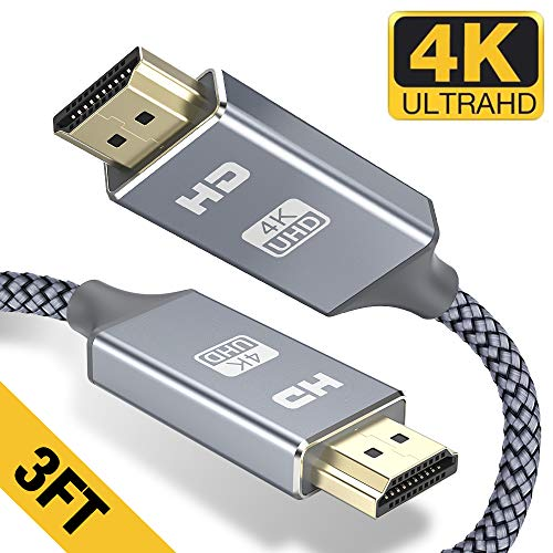 HDMI Cable 3FT - Braided Cord - 4K HDMI 2.0 Ready - High Speed - Gold Plated Connectors - Ethernet/Audio Return Channel - Video 4K UHD 2160p, HD 1080p, 3D - Compatible UHD TV, Blu-ray, PS4/3, Monitor