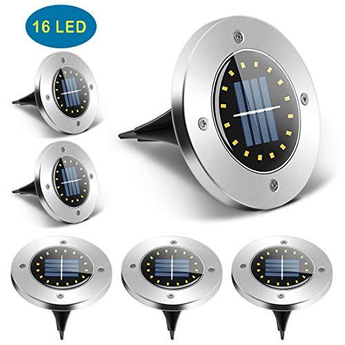 SerDa-Run Solarleuchte Garten 6 Stück 16 LEDs Solarlampen Aussen LED Gartenleuchten Außenleuchte, Wasserdicht IP65 Landschaftslichter für Rasen Auffahrt Innenhof Gehweg Landschaft Garten (Kaltweiß)