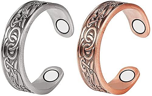 2 anillos magnéticos de cobre puro 99,9% para mujer, juego de 4 unidades, terapia magnética magnética para artritis