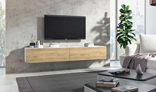 Wuun® TV Board hängend/8 Größen/5 Farben/180cm Matt Weiß- Eiche/Lowboard Hängeschrank Hängeboard Wohnwand/Hochglanz & Naturtöne/Somero