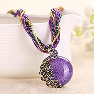 A&C Fashion Bohemia Purple Peacock Bohemia Necklace for Women. Indian Weave Necklace for Girl.