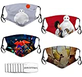 DISGOWONG Big He-ro 6 Baymax Face Mask Face Cover Adjustable Masks Breathable Unisex Reusable Anti Dust Men Woman Kids 4pcs with 8 Filters