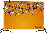 新しいハロウィーンの背景7x5ftファブリックパンプキンランプフラグスターズ子供のための写真の背景ハロウィーンのトリックまたはトリートパーティーケーキテーブルバナーポートレート写真ブースの背景の小道具