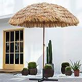 LYYJIAJU Parasolparasol Terrazze e Giardini 2.4m / 7.9 Ft Natura, Simulazione Paglia Ombrello, Cortile/Piscina/ombrellone, Patio Ombra Ombrellone Sun con ribaltamento
