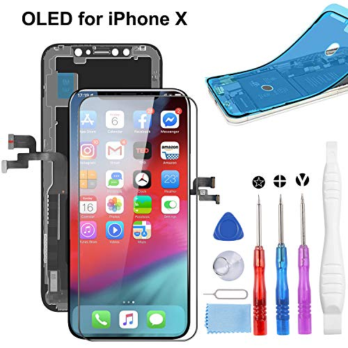 YPLANG OLED Ersatz Kompatibel mit iPhone X Display, 3D Touchscreen Display mit Glasschirmschutz, Wasserdichter Rahmenkleberaufkleber und Komplettes Reparatur Werkzeug Kit