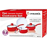 PRIMA Ceramic Coated Cookware Set, Set of 7, Red/ White