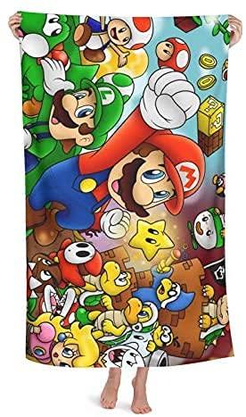 Super Mario - Toalla de playa, diseño de Super Mario Bros, compacta, de secado rápido, muy adecuada para el deporte (Mario-2, 70 cm x 140 cm)