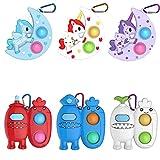 6 Pcs Mini Pop Fidget Simple Dimple Toy,Mini Push Pop Fidget Toy Keychain,Mini Rainbow Tie dye Bubbl...