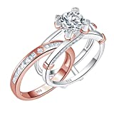 Blongme Wedding Engagement Rings Set for Women 925 Sterling Silver Round CZ Anniversary Band Promise Bridal Size 8