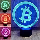 LED Lampe mit Acrylglas-Einsatz im Bitcoin Logo Design Schneller Versand aus Deutschland und korrektes Bitcoin Logo (kein ungenaues Design aus China!) 7 Farben und automatischer Farbwechsel Sockeldurchmesser 8cm, Acrylglasscheibe ca. 17 cm, Gesamthöh...