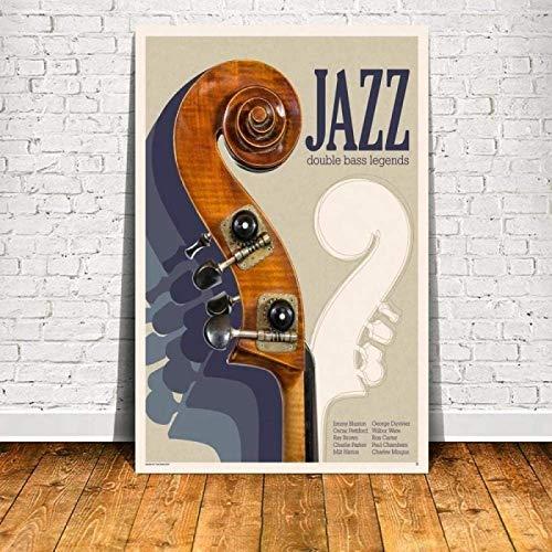 SXXRZA Estilo nórdico 50x70cm Sin Marco Jazz Double Bass Leyendas Póster e Impresiones Pintura Retro para Sala de Estar Bar Comedor Decoración del hogar