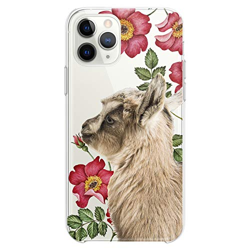 Cavka TPU Case Compatible with Apple iPhone 12 Mini 5G 11 Pro Xs Max X 8 Plus Xr 7 SE Cute Clear Floral Phone Soft Print Baby Animals Teen Cute Girl Goat Flexible Silicone Slim fit Pet Kawaii Design