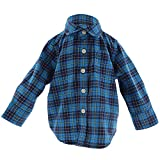 Photo de Janie and Jack Plaid Brushed Twill Shirt Long-Sleeve - 6-12 Months - Cerulean Plaid par