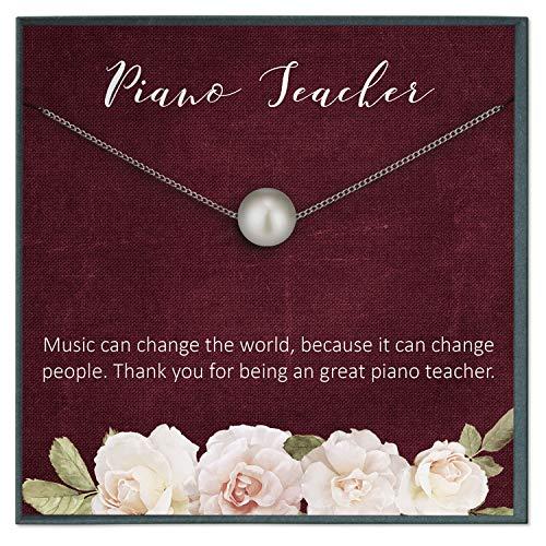 Grace of Pearl - Tarjeta de regalo para profesor de piano, regalo de agradecimiento para profesores de música, regalo para profesores de música, collar para profesores