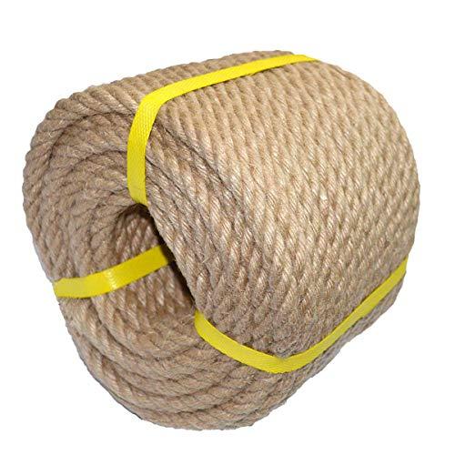 100% natürliches, starkes Jute-Seil, 30 m, 12 mm, 4-lagig, Hanfseil, Allzweck-Schnur für Handwerk, Sport, Landschaftsbau und Dekoration. Ideal für nautische Knoten, Hochzeitsdekoration, Blumenampel