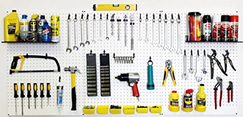 WallPeg Garage Tool Storage Kit Shelves,Part Bins, and Locking Peg Hooks (Black)