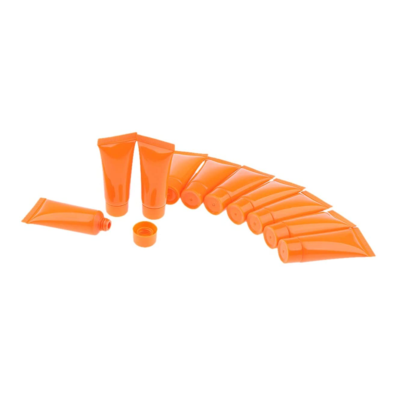 知恵通路青IPOTCH 10個 メイクアップ 化粧品チューブ ローション クリーム 小分け 3色選べ - オレンジ