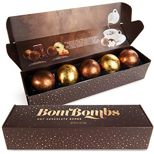 Modern Gourmet Foods BomBombs Kakao-Bomben - 5 leckere Schokoladenkugeln mit Mashmallow-Füllung für heiße Schokolade / Kakao