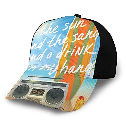 Gorra de béisbol para el sol, diseño retro, diseño tropical, con hojas de palma, para tabla de surf, chanclas y gafas de sol, protección solar, color morado para hombres y mujeres