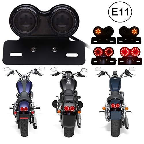DREAMIZER Universal 40 LED Dual Motorrad Rücklicht Bremslicht Blinker Lauflampe mit Nummernschild Halterung für Custom Street Bike Dirt Bike Cruiser Chopper(Rauch)