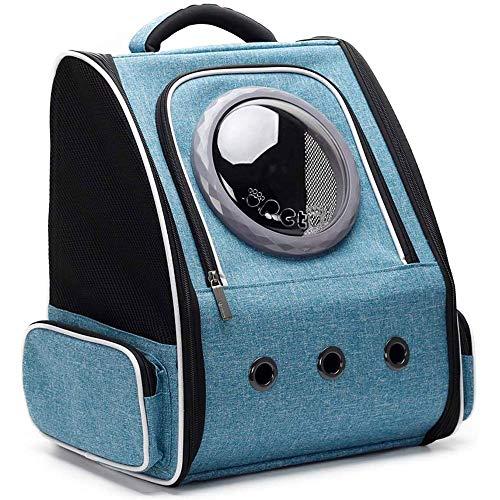 Anybz Ampliable Portador del Gato Mochila, Cápsula Espacial Transparente Burbuja Portador del Animal doméstico for el pequeño Perro, Mascotas yendo de excursión el morral, Gris (Color : Blue)